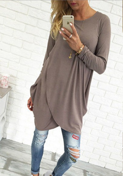Coffee Irregular Round Neck Long Sleeve Casual Midi Dress