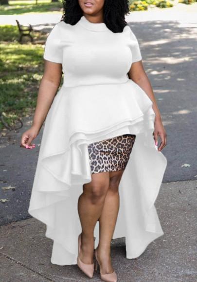 White Cascading Ruffle Swallowtail Peplum High-Low Short Sleeve Party Maxi Dress