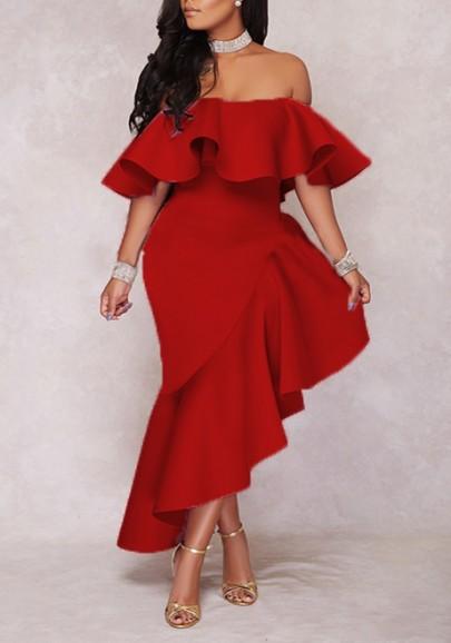Red Ruffle Irregular Off Shoulder Backless High-Low Banquet Elegant Maxi Dress