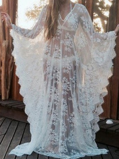 White Lace Irregular Plus Size Wavy Edge Kaftan Maternity For Babyshower Maxi Dress