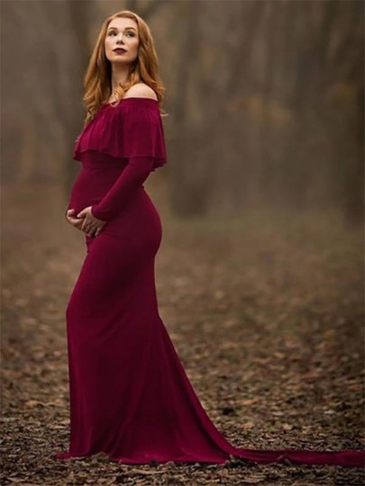 Burgundy Ruffle Off Shoulder Backless Long Sleeve Elegant Maternity Maxi Dress