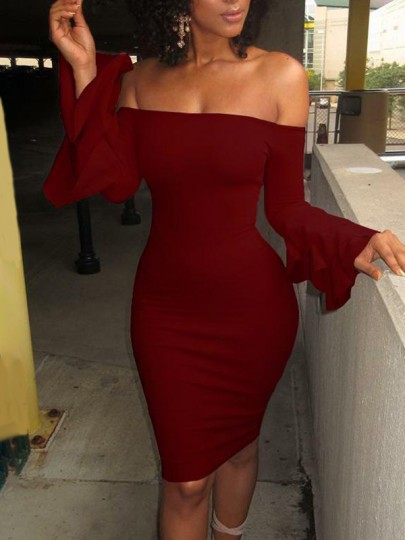 Wine Red Ruffle Off Shoulder Long Sleeve Bodycon Midi Dress