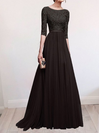 Black Patchwork Lace Draped Slit Flowy Banquet Bridesmaid Elegant Elbow Sleeve Maxi Dress