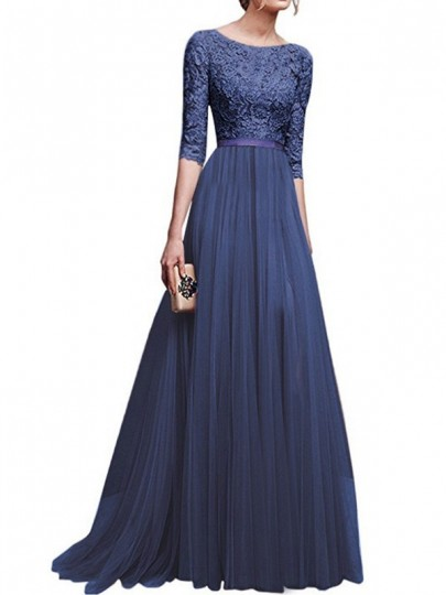 Navy Blue Patchwork Lace Draped Side Slit Round Neck Elbow Sleeve Maxi Dress