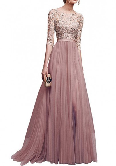 Pink Patchwork Lace Draped Side Slit Round Neck Elbow Sleeve Maxi Dress
