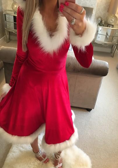 Rot V-Ausschnitt mit Pelzkapuze Langarm Mode Weihnachtsmotiv Christmas Midikleid