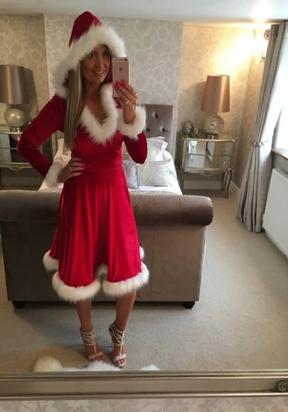 Red Plain Fur Hooded Long Sleeve Fashion Midi Dress