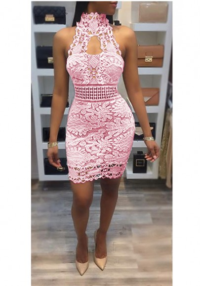 Pink Patchwork Lace Backless Halter Neck Cut Out Prom Evening Part Mini Dress