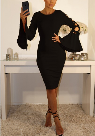 Black Cross Cut Out Lace-up Bodycon Flare Sleeve Elegant Party Midi Dress