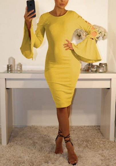 Yellow Cross Cut Out Lace-up Bodycon Flare Sleeve Elegant Midi Dress