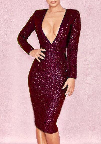 Burgundy Patchwork Sequin Sparkly Deep V-neck Bodycon NYE Cocktail Party Midi Dress