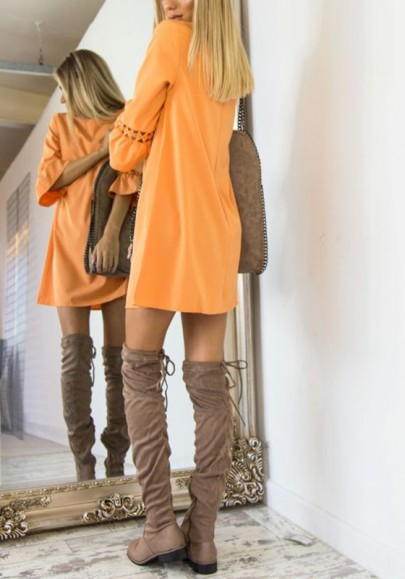 Orange Ruffle Round Neck Fashion Mini Dress