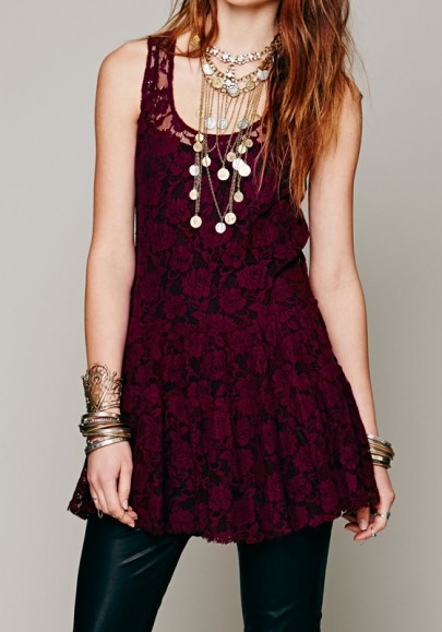 Purple Lace Round Neck Fashion Mini Dress