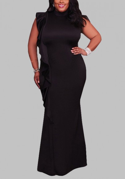 Black Ruffle Draped Bodycon Plus Size High Neck Elegant Cocktail Party Maxi Dress