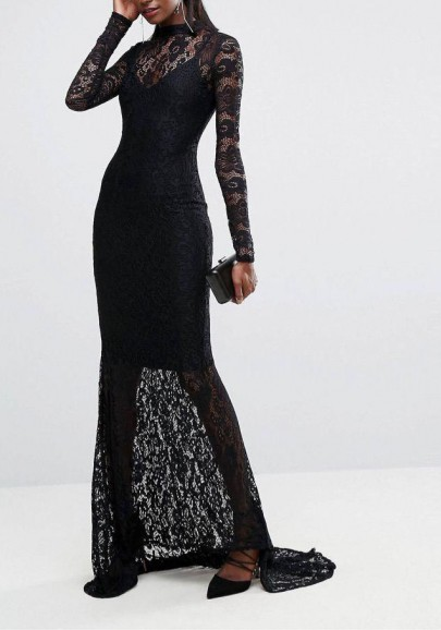 5897a360e05 Black Lace Draped Backless Mermaid Banquet Elegant New Year Eve Party Maxi  Dress