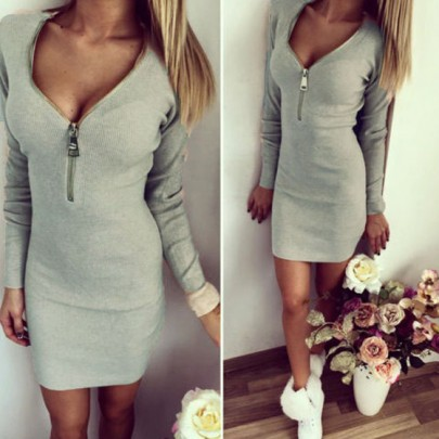 Grey Zipper V-neck Long Sleeve Fashion Mini Dress