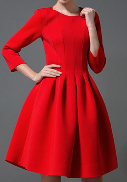 Red Pleated Zipper Round Neck Long Sleeve Tutu Mini Dress