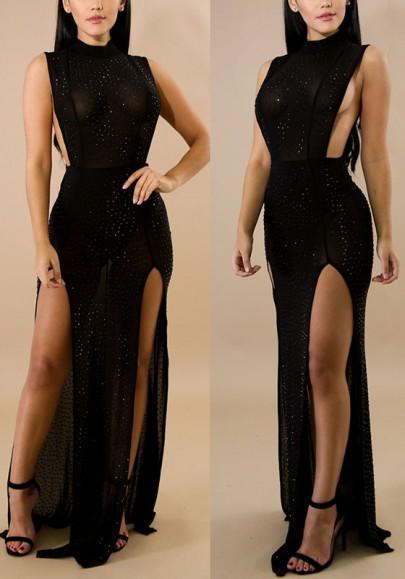 Black Mosaic Rhinestone Double Slit Sparkly High Waisted NYE Cocktail Party Maxi Dress