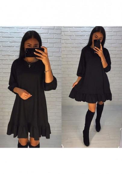 Black Plain Peplum Ruffle Round Neck Sweet Mini Dress