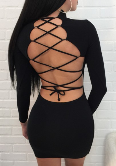Black Cut Out Tie Back Round Neck Mini Dress