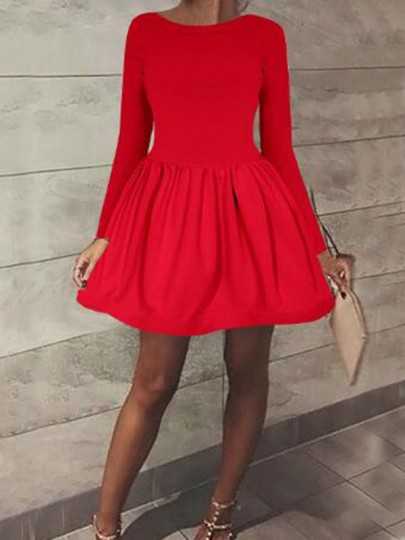 fe5a052d9a Red Pleated Long Sleeve High Waisted Skater Tutu Cute Homecoming Mini Dress  - Mini Dresses - Dresses