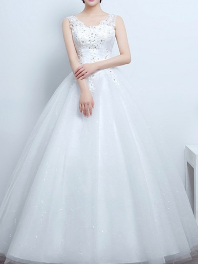 White Patchwork Lace Cross Back V-neck Tulle Tutu Wedding Gowns Maxi Dress