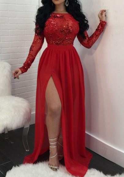 Rot Flickwerk Pailletten Mesh Rückenfreies Drapiert Schlitz Schöne Maxikleid Abendkleider Partykleider
