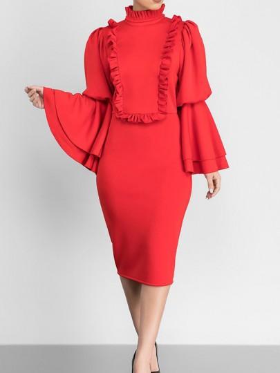 Red Ruffle Falbala Bell Sleeve Bodycon Banquet Elegant Party Pencil Midi Dress