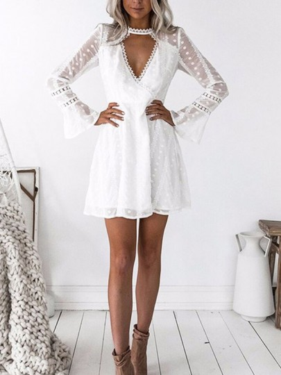 White Lace Cut Out Pleated Bell Sleeve Homecoming Party Beach Boho Sweet Cute Mini Dress