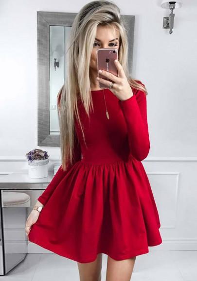 Robe courte évasée plissé tutu manches longues élégant rouge