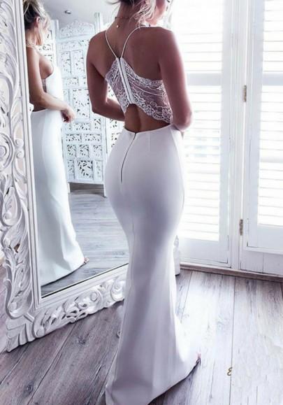 Vestido largo sirena sin respaldo bodycon correa de espagueti elegante fiesta de banquetes blanco