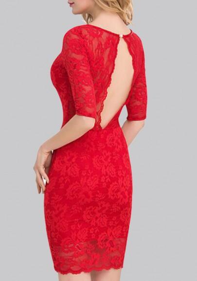 Mini robe dédécoupesr dos nu v-cou coude sans manches parattacher bodycon dentelle robe mini rouge