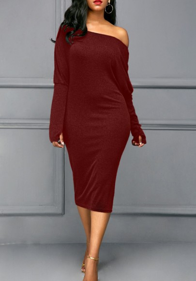 Burgundy Cut Out Dolman Sleeve Off Shoulder Plus Size Bodycon Casual Midi Dress
