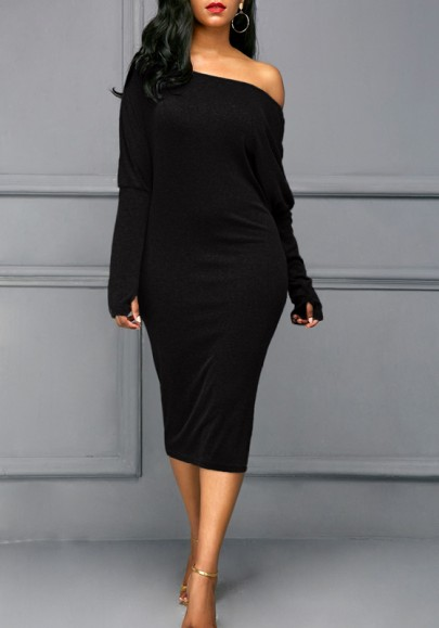 Black Cut Out Dolman Sleeve Off Shoulder Plus Size Bodycon Casual Midi Dress