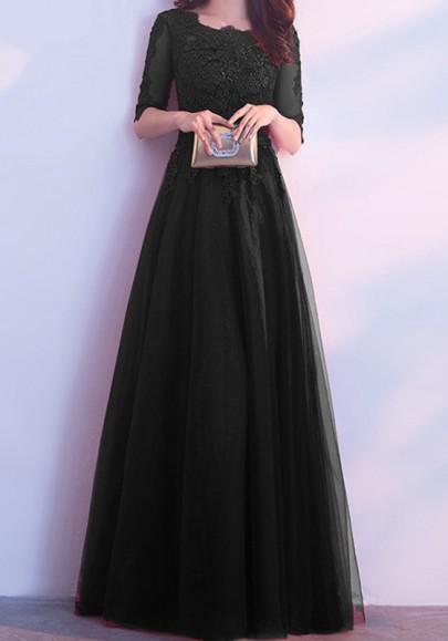 Vestido largo adina de encaje cuello redondo manga de codo negro