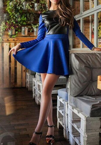 Blue Patchwork PU Leather Draped High Waisted Tutu Skater Homecoming Party Mini Dress