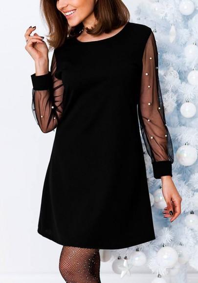 Mini-robe trapèze perle net fil transparent manches longues élégant noir
