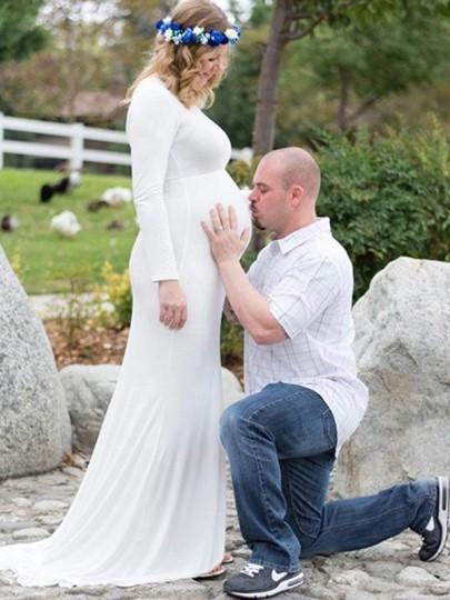 White Draped Off Shoulder Backless Multi Way Maternity Photoshoot Elegant Maxi Dress