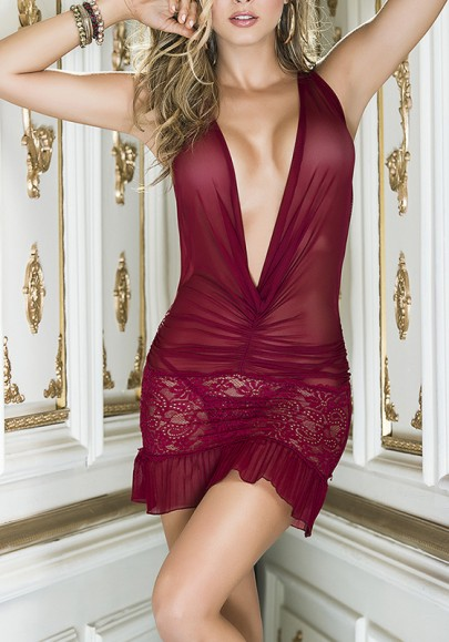 Red Patchwork Lace Cut Out Plunging Neckline Fashion Mini Dress