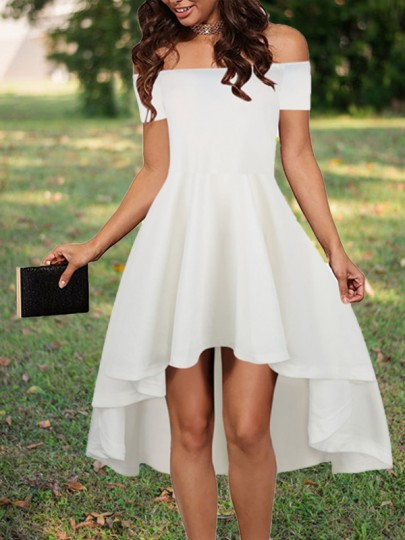 White Irregular Draped Swallowtail Off Shoulder High-low Homecoming Valentine's Day Party Midi Dress