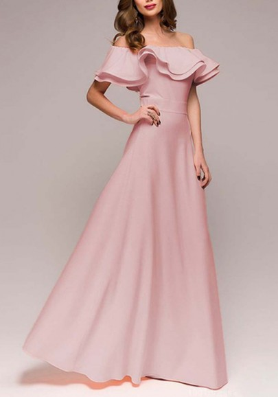 7097822d04 Pink Ruffle Draped Off Shoulder High Waisted Banquet Elegant Party Maxi  Dress