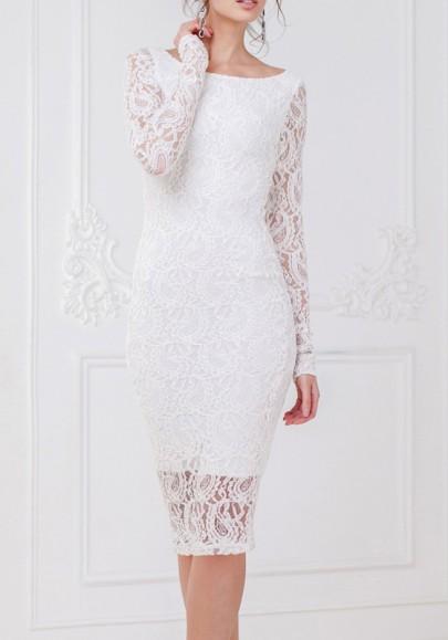 9c6f45e2adc3 White Lace Round Neck Long Sleeve Bodycon Fashion Midi Dress - Midi ...