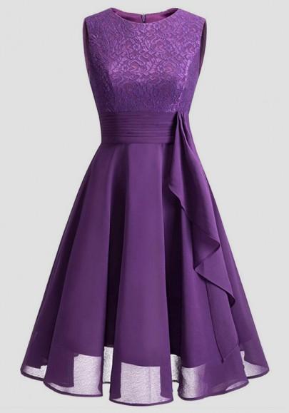 Purple Patchwork Lace Pleated Round Neck Homecoming Party Wedding Bridemaid Prom Elegant Midi Dress