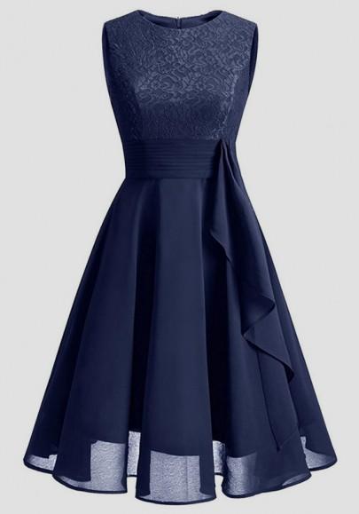 Marineblau Flickwerk Spitze Drapiert Chiffon Rundhals Ärmellos Elegantees Midikleid Abendkleid Partykleider