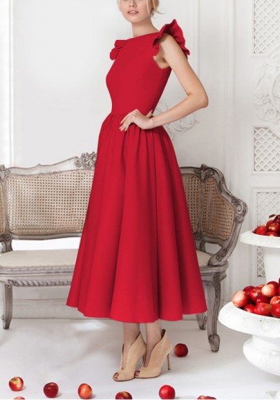 Robe cheville longue tutu plissé à volantée manches élégant vintage rouge