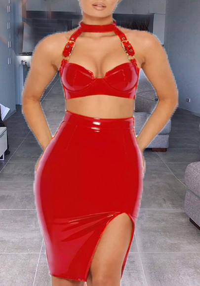 Red Cut Out Slit PU-Leather Halter Neck Two Piece Latex Party Midi Dress
