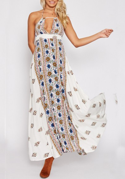be28893b368 White Tribal Floral Pattern Cut Out Halter Neck Backless Beach Boho Mexican  Maxi Dress