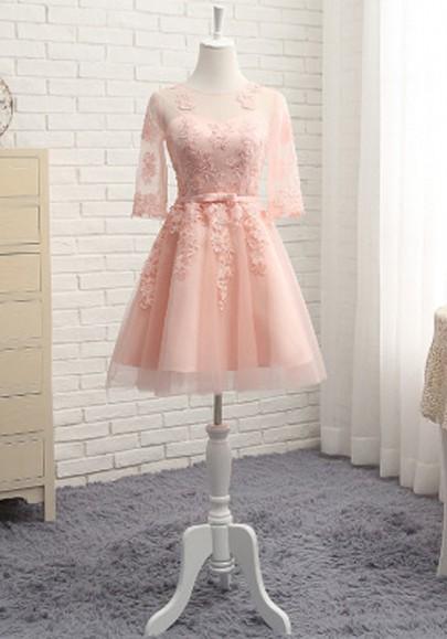 Mini-robe avec dentelle dos nu manches au coude tutu tulle élégant de cocktail rose