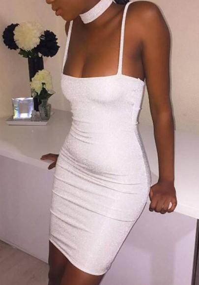 Silver Bright Wire Condole Belt Zipper Wrap Mini Dress