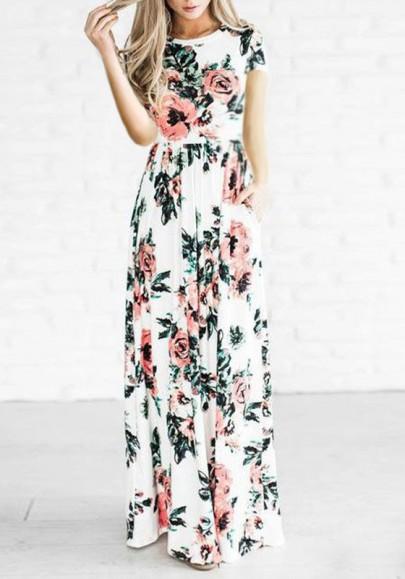 Robe longue imprimé à fleurie manches courtes taille haute mode boho blanc